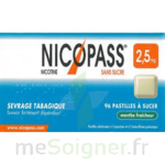 NICOPASS MENTHE FRAICHEUR 2,5 mg SANS SUCRE, pastille édulcorée à l'aspartam et à l'acésulfame potassique à LE BOUSCAT