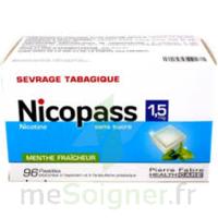 Nicopass 1,5 mg Pastille sans sucre menthe fraîcheur Plq/96 à LE BOUSCAT